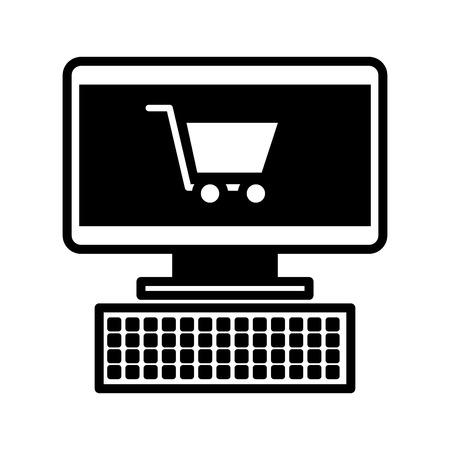 computer en winkelwagentje online virtuele markt vectorillustratie