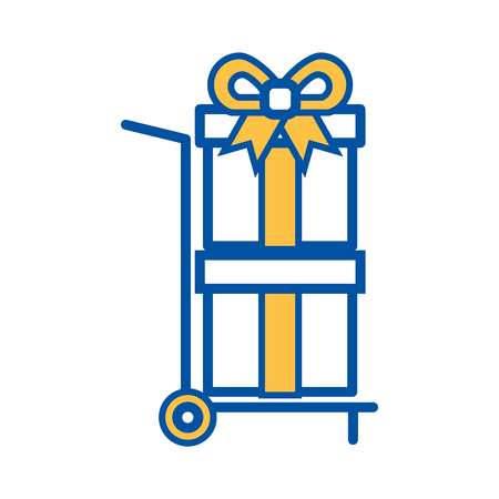 hand cart delivery with gift boxes shopping vector illustration