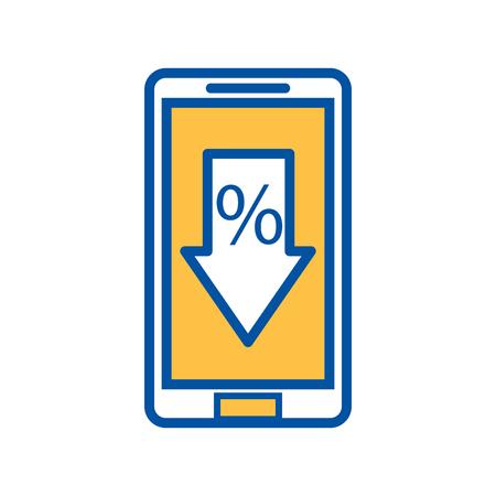 mobiele telefoon met korting procent verkoopaanbieding marketing vectorillustratie Stock Illustratie