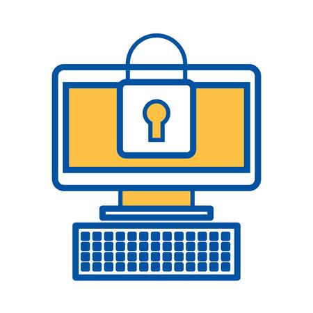 コンピュータデバイスオンライン南京錠セキュリティ情報ベクトル図