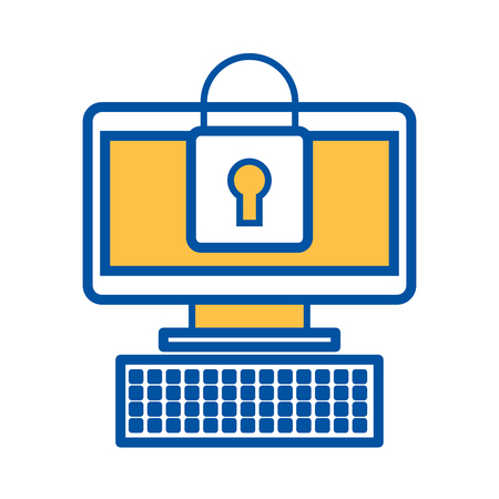 computer device online padlock security information vector illustration 向量圖像