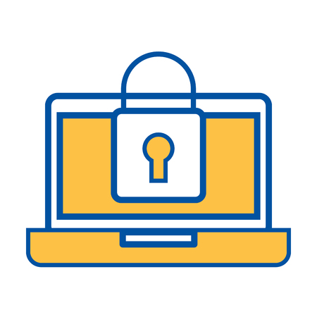 laptop device digital padlock security data vector illustration Ilustrace