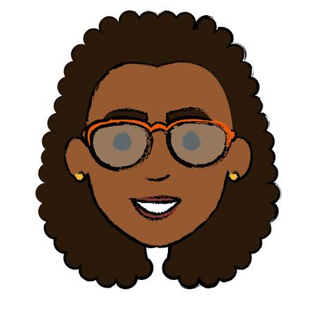 beautiful black woman head avatar character vector illustration design