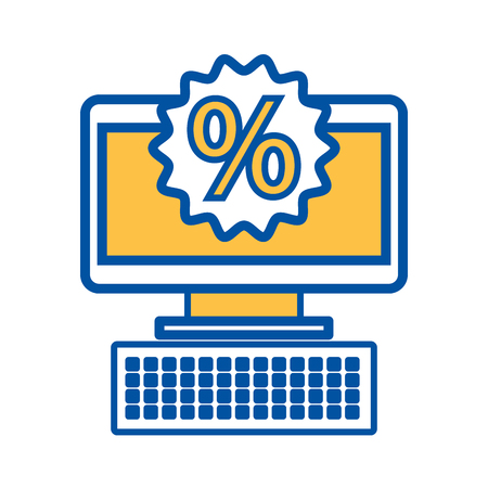 computer business commerce online percent discount concept vector illustration