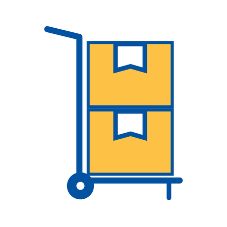 hand cart delivery cardboard boxes storage vector illustration