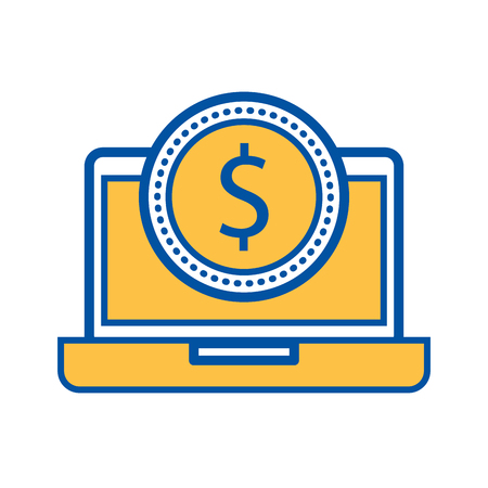 laptop with a dollar coin money ecommerce technology vector illustration 向量圖像