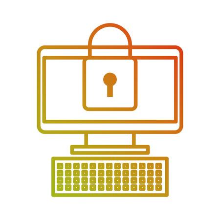 컴퓨터 장치 온라인 자물쇠 보안 정보 벡터 일러스트 레이션