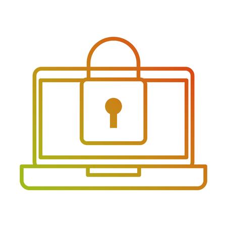 ノート パソコン デバイス デジタル南京錠セキュリティ データ ベクトル イラスト