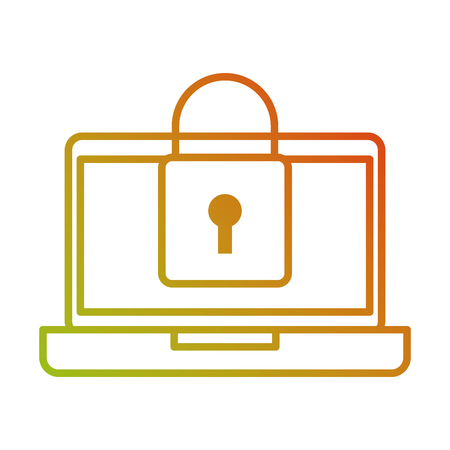 laptop device digital padlock security data vector illustration Ilustracja