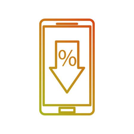 スマートフォンと矢印割引パーセントオファー販売コマースベクトルイラスト 写真素材 - 88978887