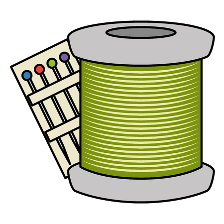 sewing thread tubes with pins vector illustration design Иллюстрация