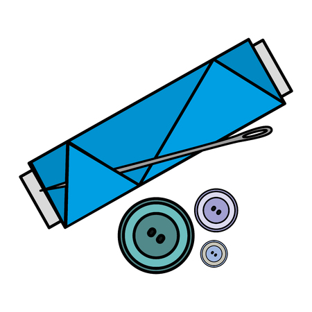 sewing thread tubes with needle and buttons icon vector illustration design