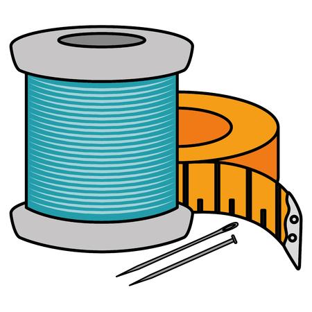 針とテープメジャーベクトルイラストデザインで糸チューブを縫う 写真素材 - 88979351