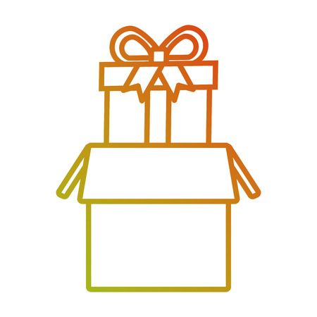 delivery online cardboard box with gift vector illustration