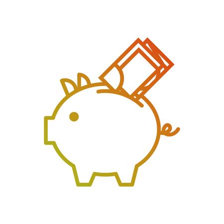 Alcancía de banco con ilustración de vector de dinero en efectivo de billetes de banco Foto de archivo - 88979377