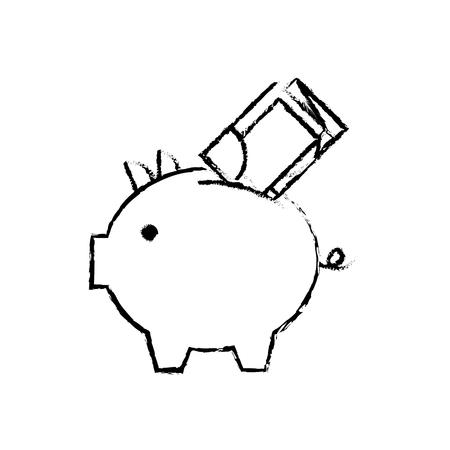 紙幣現金ベクトルイラストを持つ銀行ピギー  イラスト・ベクター素材