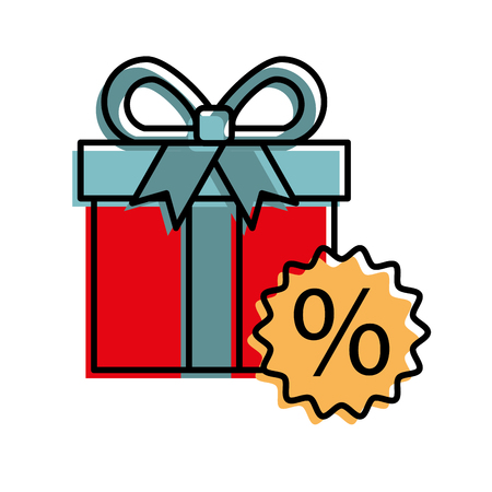 gift box tag discount special offer percent off sign symbol vector illustration
