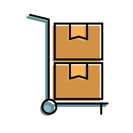 hand winkelwagen levering kartonnen dozen opslag vectorillustratie