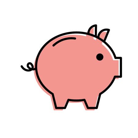 돼지 저금통 안전 돈 투자 상거래 벡터 일러스트 레이션