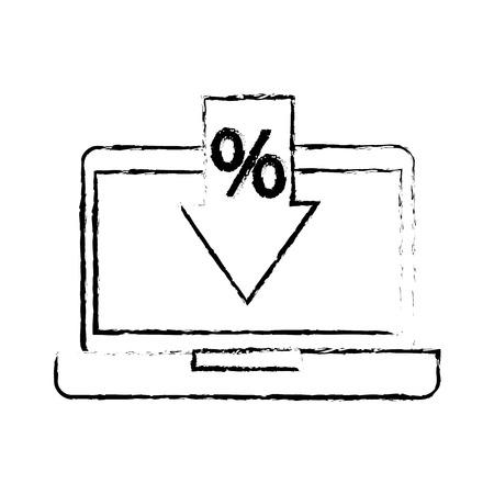 オファーパーセントのeコマースオンラインベクトルイラストを持つラップトップノートブック