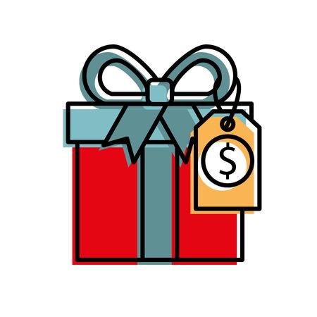 shopping big gift box discount offer online vector illustration Illustration