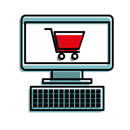 computer and shopping cart online virtual market vector illustration