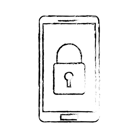 smartphone device security protection access data vector illustration