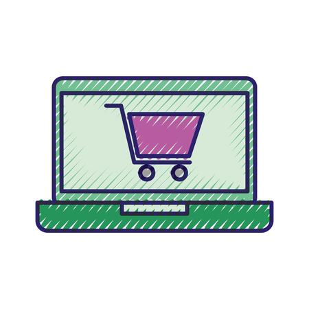 laptop computer digital online virtual shopping offer vector illustration
