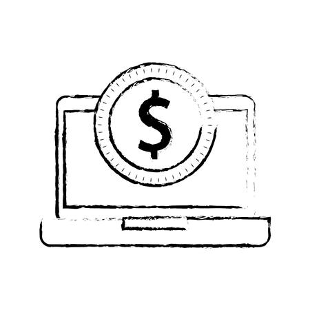 ドル硬貨のお金 e コマース技術ベクトル図とノート パソコン