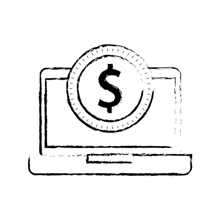 laptop with a dollar coin money ecommerce technology vector illustration Illustration
