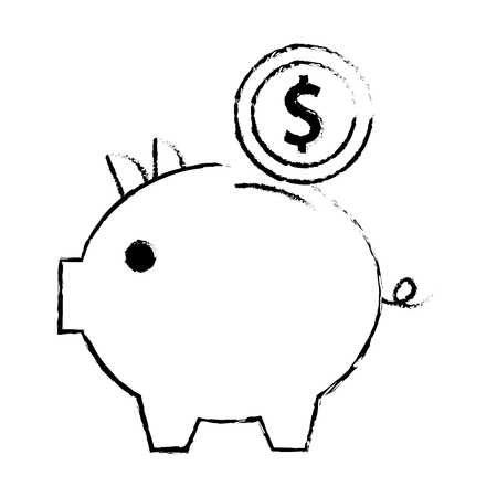 piggy bank money coin saving and investing concept vector illustration