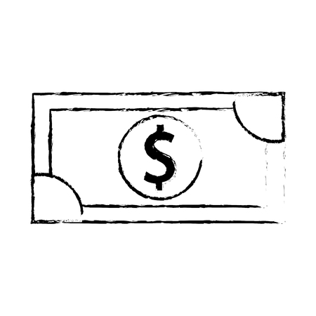 dollar money banknote cash shopping icon vector illustration Illustration