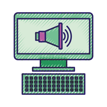 computer and megaphone marketing online advertising vector illustration