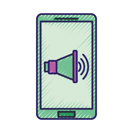 smartphone with speaker digital marketing vector illustration