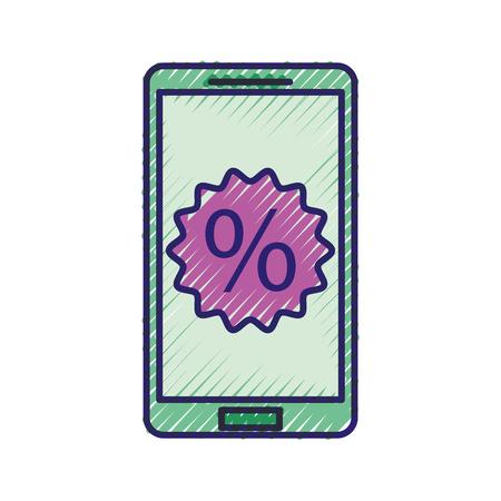 割引率販売オファーマーケティングベクトルイラスト付き携帯電話