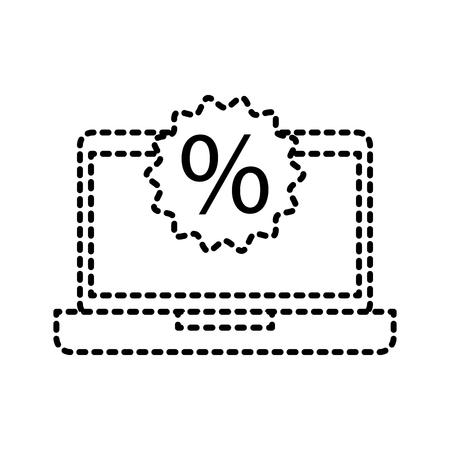 laptop discount sticker offer sale marketing digital vector illustration Ilustracja