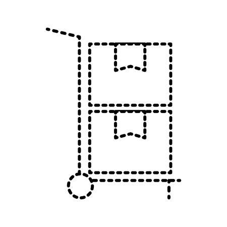 hand cart delivery cardboard boxes storage vector illustration