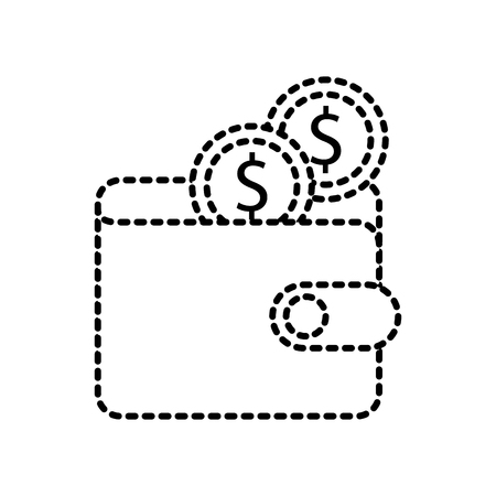online ecommerce wallet with dollar coins money vector illustration