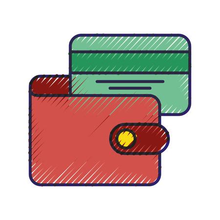 전자 상거래 지갑 신용 카드 은행 비즈니스 벡터 일러스트 레이션