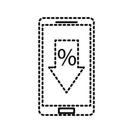 smartphone and arrow discount percent offer sale commerce vector illustration