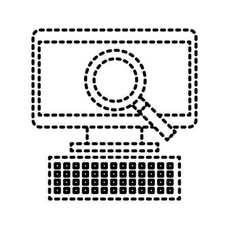 computer and magnifier ecommerce discount vector illustration 向量圖像