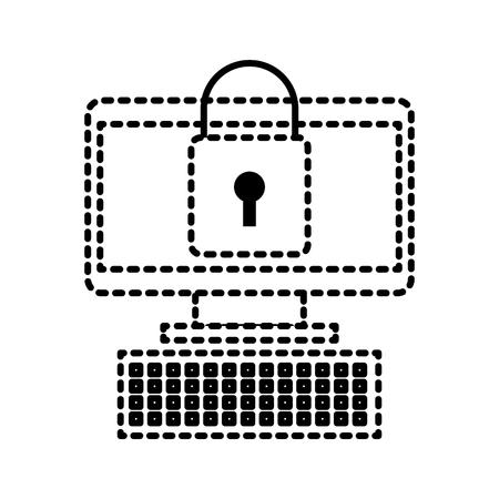 computer device online padlock security information vector illustration Çizim