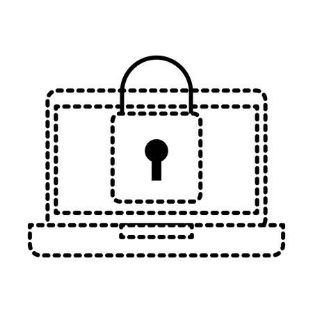 laptop device digital padlock security data vector illustration Çizim