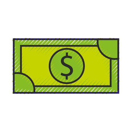 dollar money banknote cash shopping icon vector illustration Иллюстрация