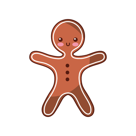 Navidad jengibre galleta dulce icono vector illustration Foto de archivo - 88986564