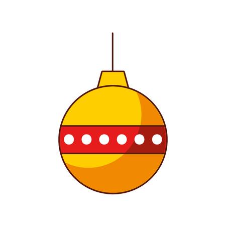 rode en gele bal kerst decoratie ornament vector illustratie Stock Illustratie
