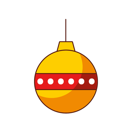 red and yellow ball christmas decoration ornament vector illustration