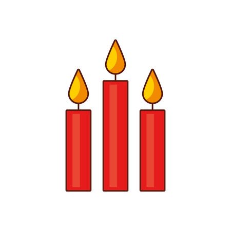 christmas three candles burning celebration vector illustration