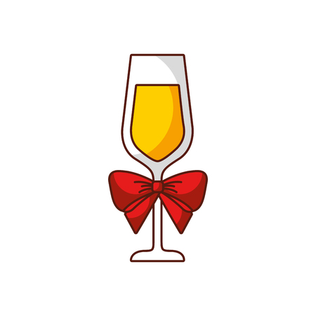champagne glass with bow decoration christmas party vector illustration Illustration
