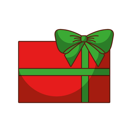 red christmas gift with green bow wrapped ribbon vector illustration Illustration